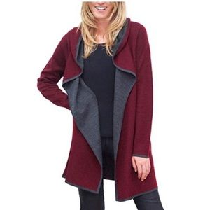 BNCI by blanc noir Burgundy Hooded Wool Cardigan